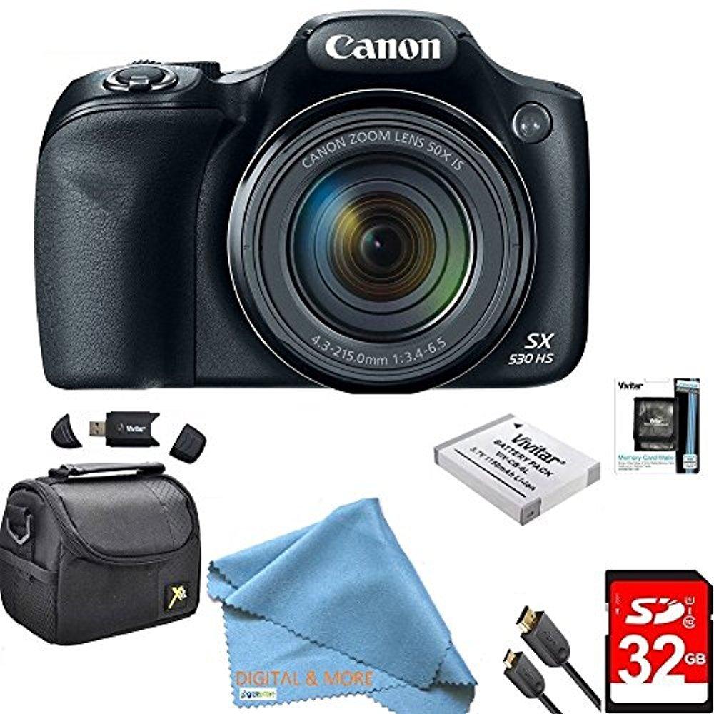 Canon PowerShot sx530 HS 16 MP Wi - Fi super-zoomデジタルカメラ50 x光学ズーム究極バンドルIncludesデラックスカメラバッグ、32 GBメモリカード、追加電池、三脚、カードリーダー、HDMIケーブル& More   B07119VM7X