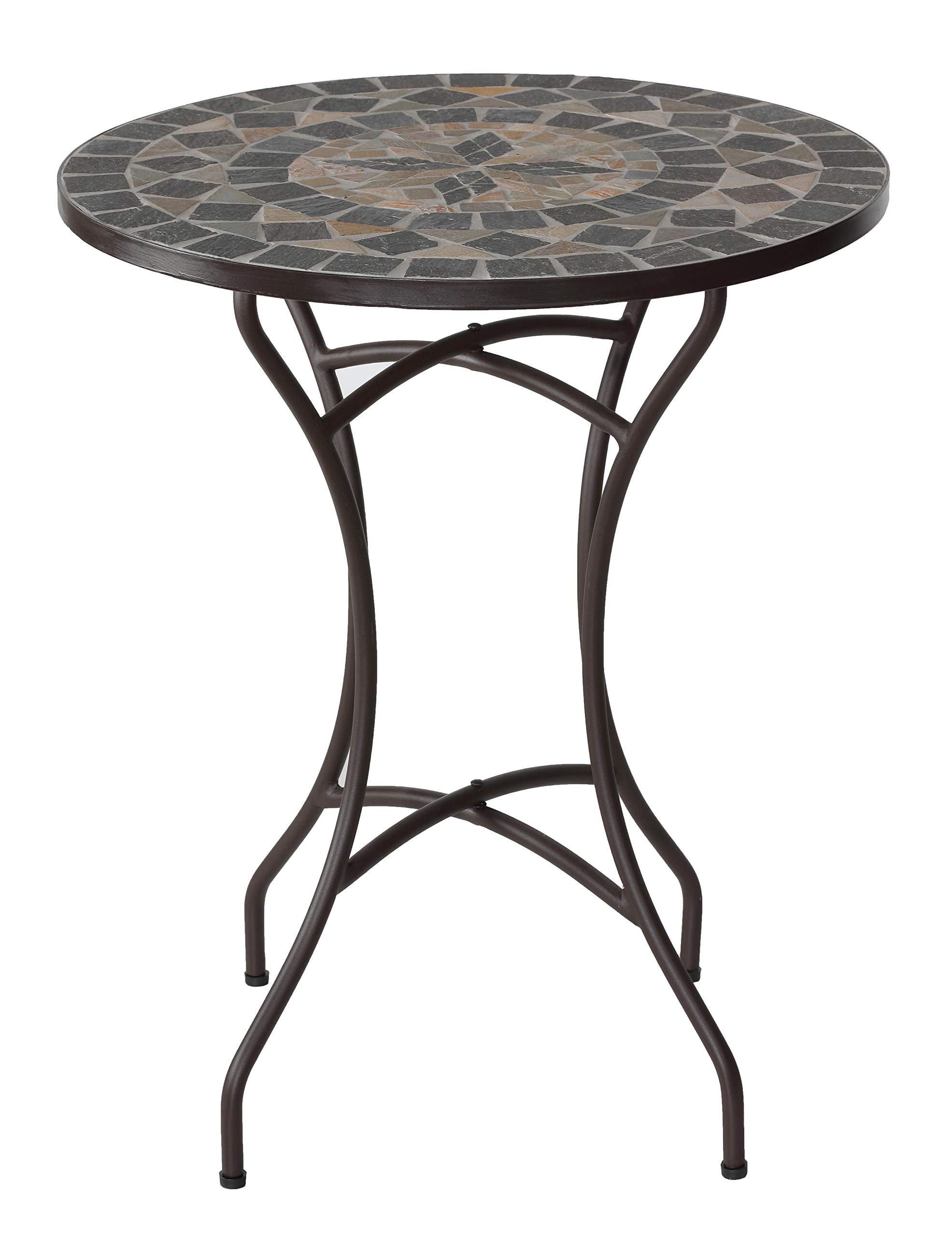Cortesi Home CH-DT700208 Mimi Mosaic Round Indoor/Outdoor Bistro Table, 24'' GrayBrown