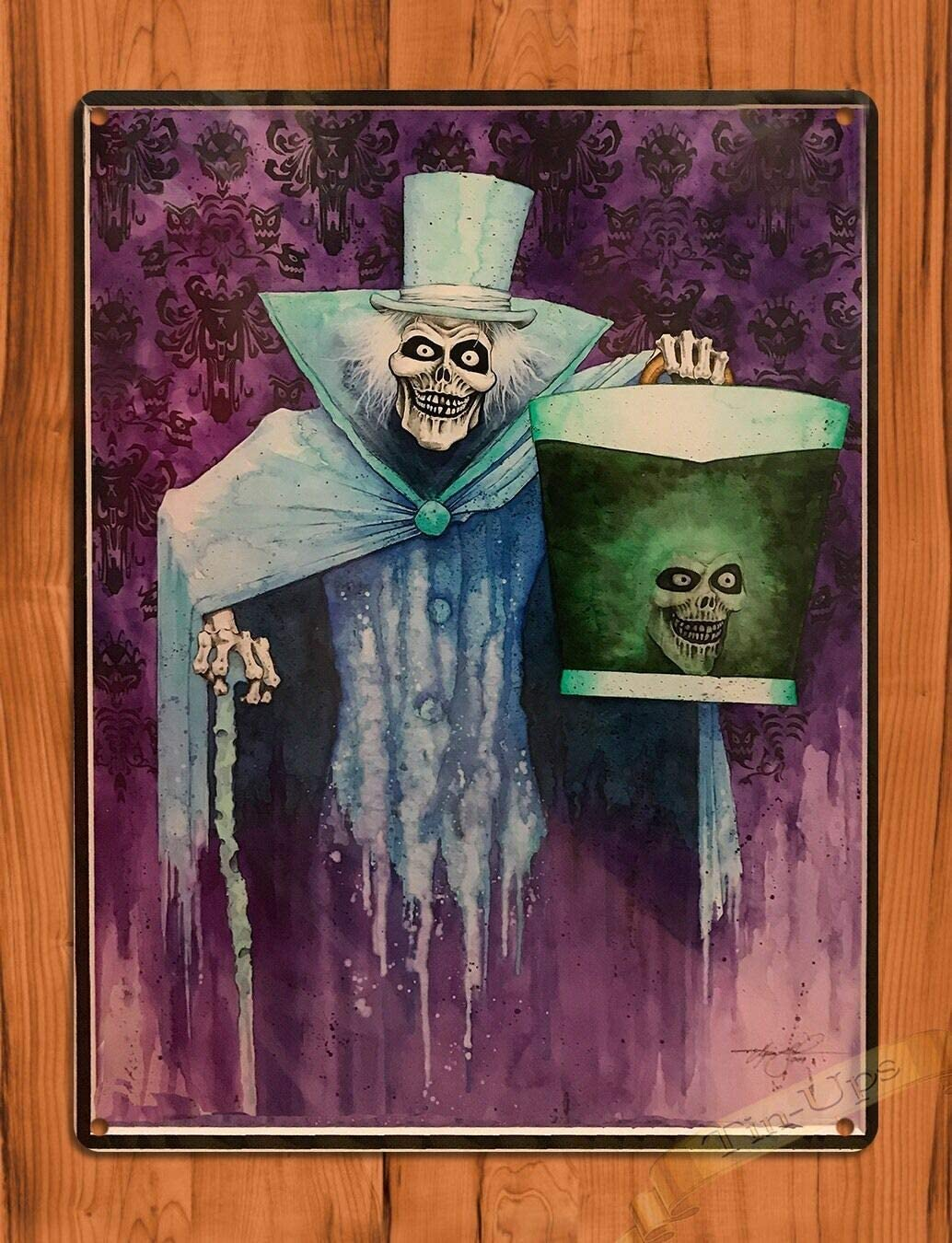 SIGNCHAT Tin Sign Haunted Mansion Hatbox Ghost Christmas Halloween Props Metal SignArt Ride Movie Christmas Halloween Props Metal Sign 8x12 inch