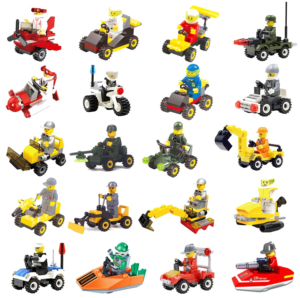 FeiZhu 20 Building Vehicles with Minifigures for Kids Party Favors,Birthday Gift for Children,100% Compatible