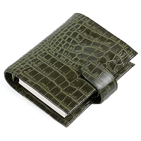 Moterm Croc Print Genuine Leather Organizer - A7 Rings Binder Planner Classic Agenda with Lined Refills (A7 Size, Green)