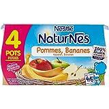 Nestlé Bébé Naturnes Pommes Bananes - Compote dès 4 - 6 Mois - 4 x 130g - Lot de 3
