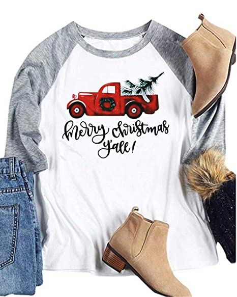 Merry Christmas Letter Y.Bangely Women Merry Christmas Y All Letter Baseball T Shirt Truck Tree Print 3 4 Sleeve Raglan Tops Tees