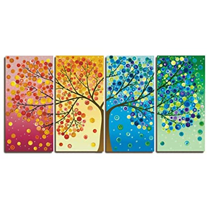 Amazon.com: GOUPSKY Colorful Tree Oil Painting, Flower Tree Wall Art ...