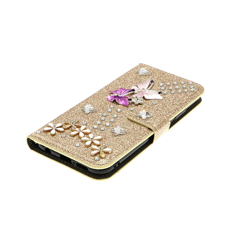 QC-EMART Cover per Samsung Galaxy S8 Plus Custodia in Pelle Viola Glitter Paillette Luccichio Farfalla Portafoglio Porta Carta Guscio Caso Case Protettiva Custodie Cellulari per Ragazza