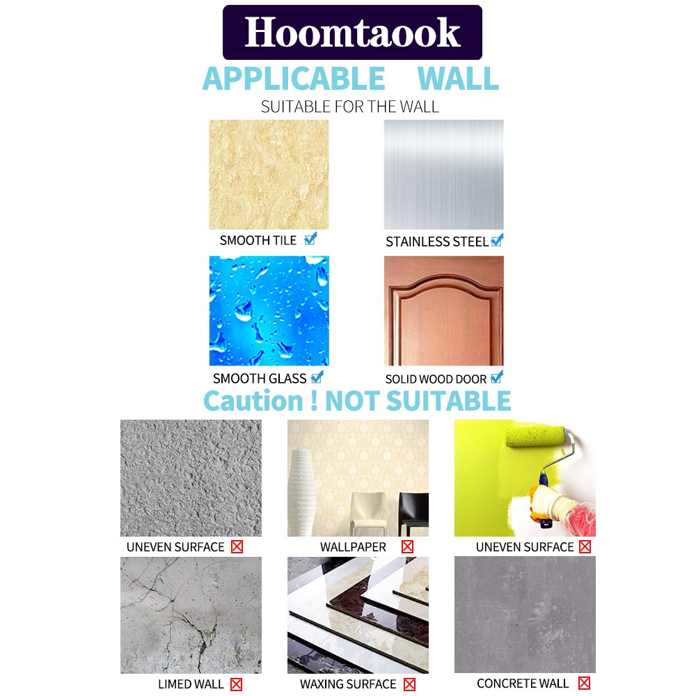 Hoomtaook Double Bathroom Shower Towel Hooks Super Power Vacuum Suction No Drill Waterproof for Kitchen (2 Pack) by Hoomtaook (Image #6)