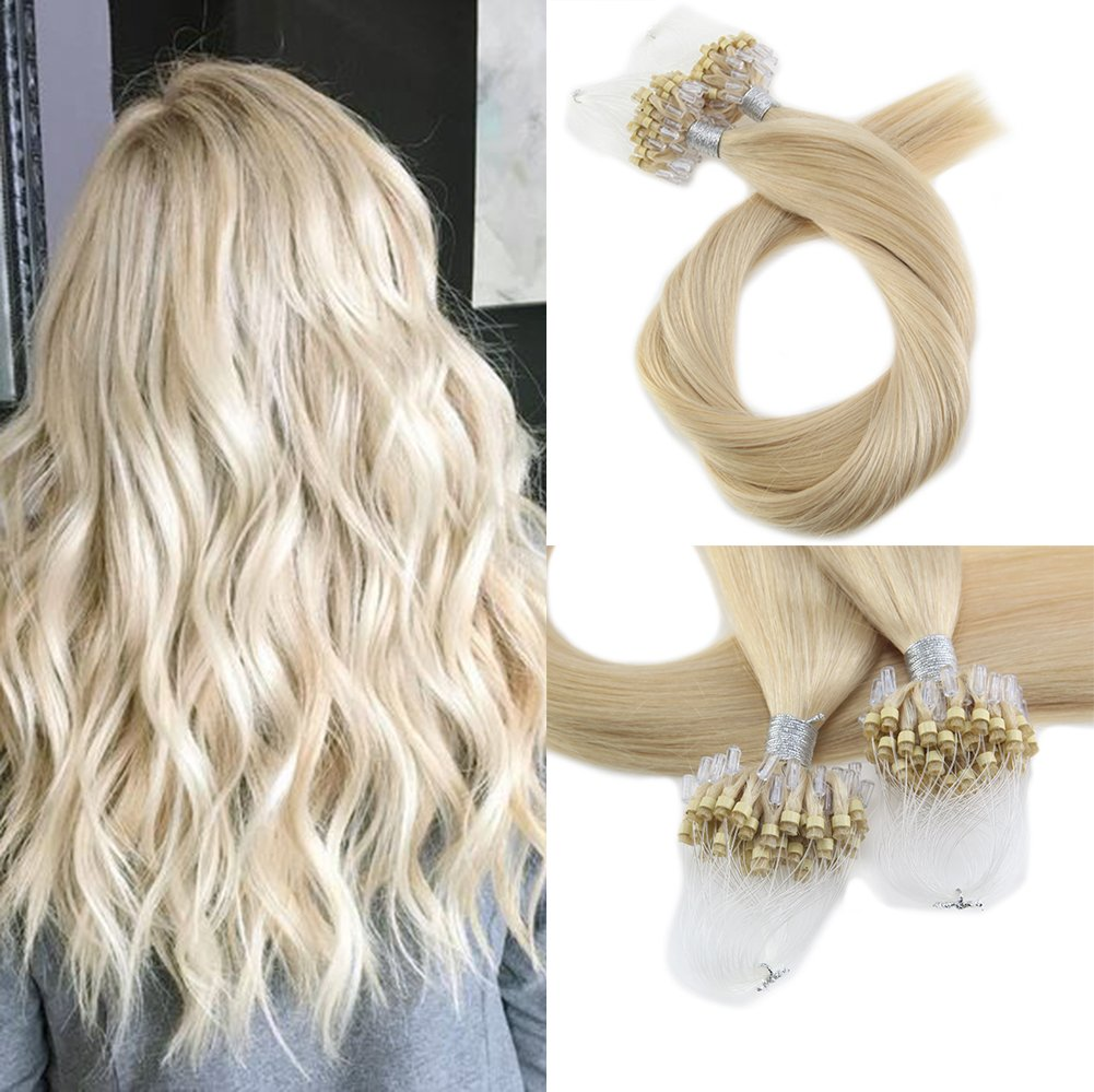 Moresoo 18 Inch Remy Human Loop Hair Extensions Bleach Blonde #613 Real Hair Micro Ring Beads Tipped 100% Human Hair Extensions 50g/50s Micro Beads Tipped Human Hair Extensions by Moresoo