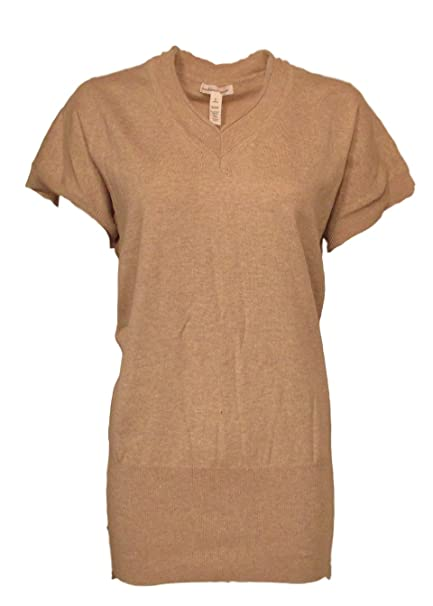 Ambiance Apparel Women S Sweater Short Sleeve V Neck Small Beige