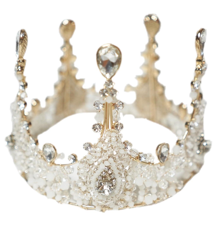 micia luxury(ミシアラグジュアリー) ビジュークラウン へッドドレス アクセサリー レディース こども 結婚式 ウェディング 衣装 ティアラ 43cm   B07FW321LX