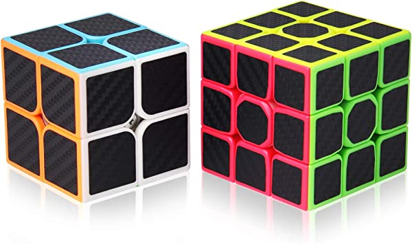 ROXENDA Speed Cube Set, Cubos de Velocidad 2x2 3x3, Fácil de Tornear y Liso Jugar, Cubo Mágico Pegatina de Fibra Carbono para Principiantes y Pro (T7): Amazon.es: Juguetes y juegos