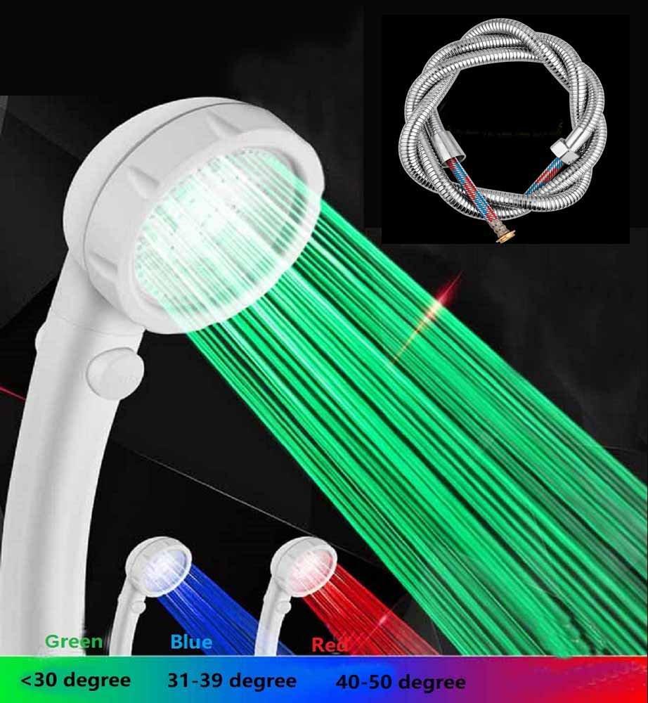 Kchkui Uk Automatic Light Up Led Shower Head Filter High Pressure