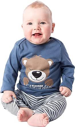 Pijama de dos piezas para niño, de algodón, pijama, pequeño oso de peluche