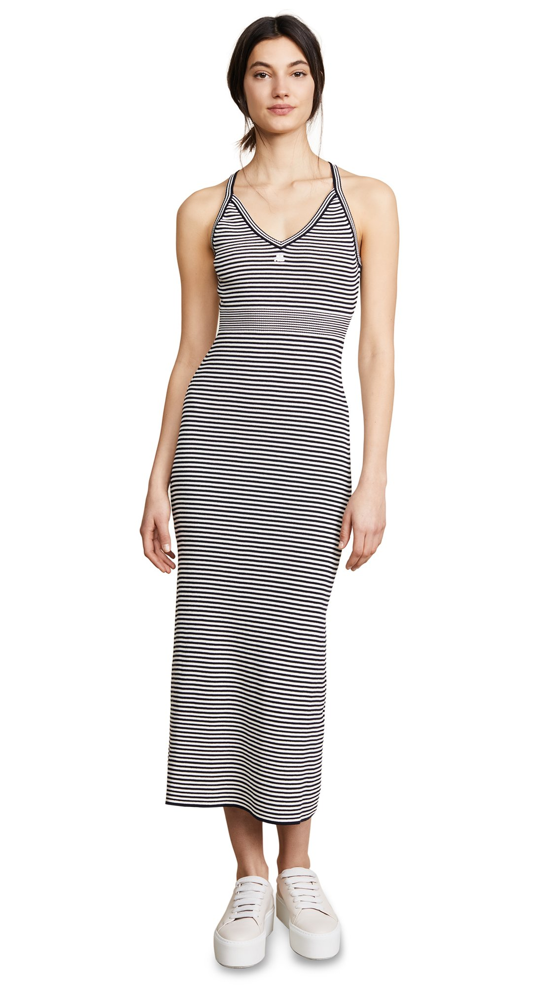 Courreges Women's Long Striped Metallic Dress, Navy/Ivory, 36