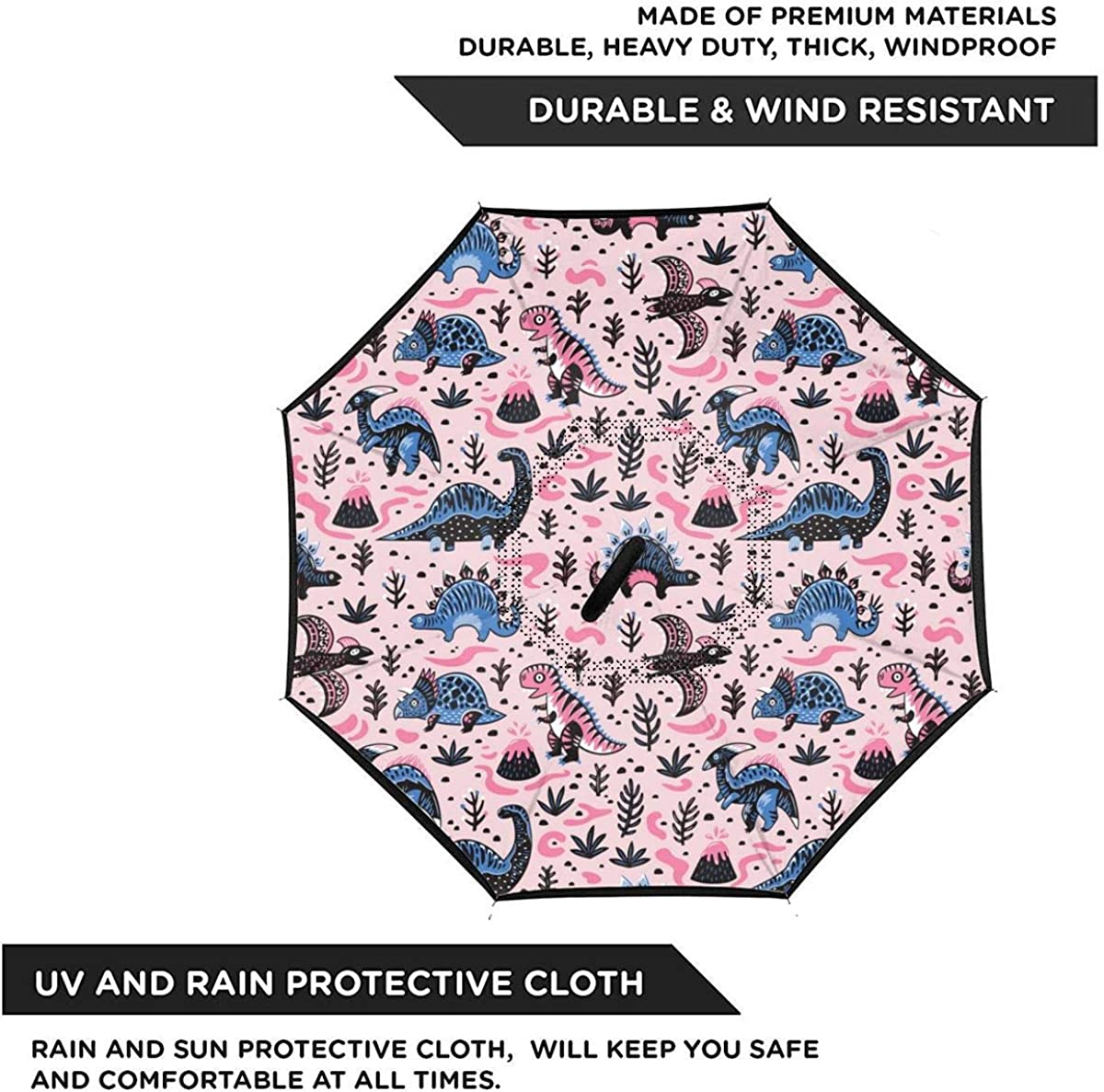 Cute Cartoon Dinosaurs Pattern In Blue Reverse Umbrella Double Layer Inverted Umbrellas For Car Rain Outdoor With C-Shaped Handle Customized