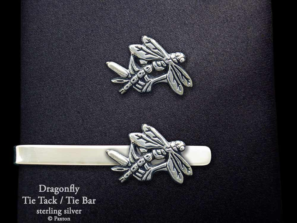 Dragonfly Tie Tack or Dragonfly Tie Bar in Solid Sterling Silver Hand Carved & Cast by Paxton