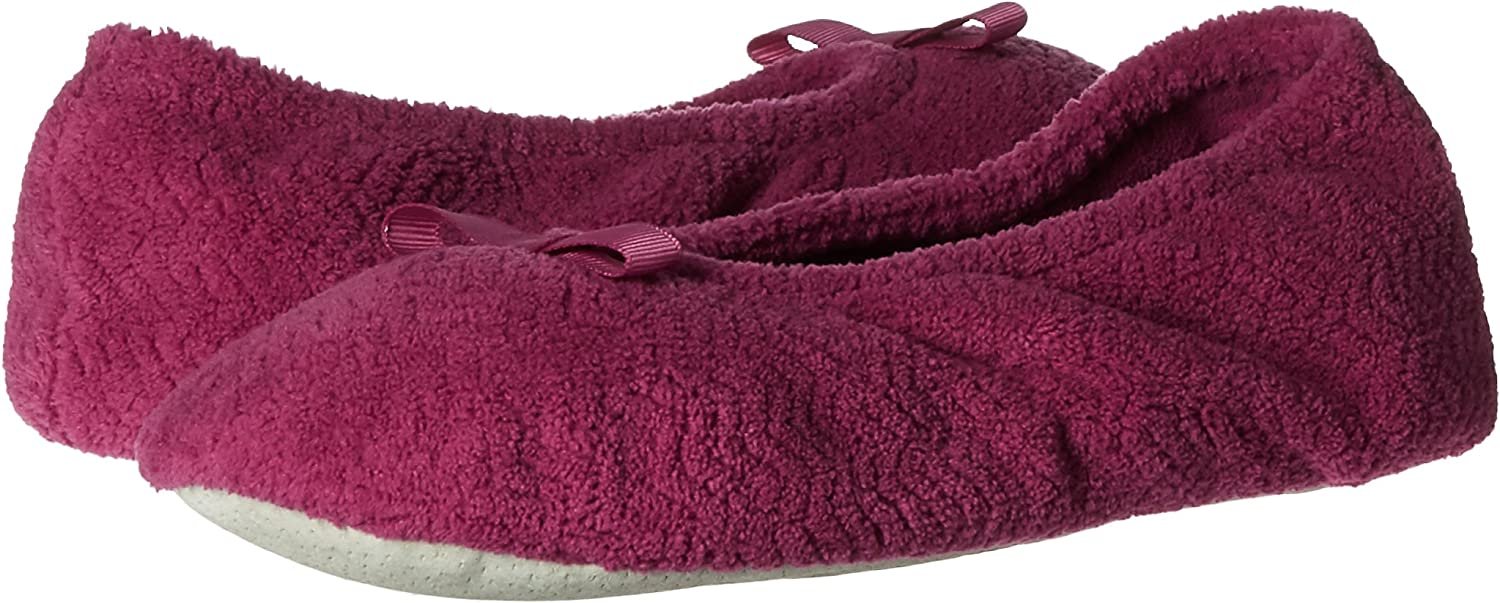 isotoner Womens Chevron Microterry Ballerina House Slipper with Moisture Wicking and Suede Sole for Comfort