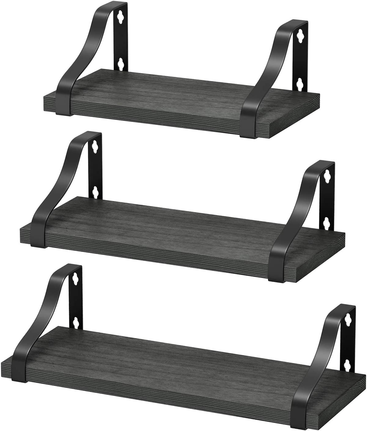 Homemaxs Floating Shelves Wall Mounted, Set of 3 Rustic Solid Wood Floating Shelf for Wall, Bathroom, Living Room, Bedroom and Kitchen, Wall Storage Shelf Fit for Any Style Home Decor-Rustic Gray