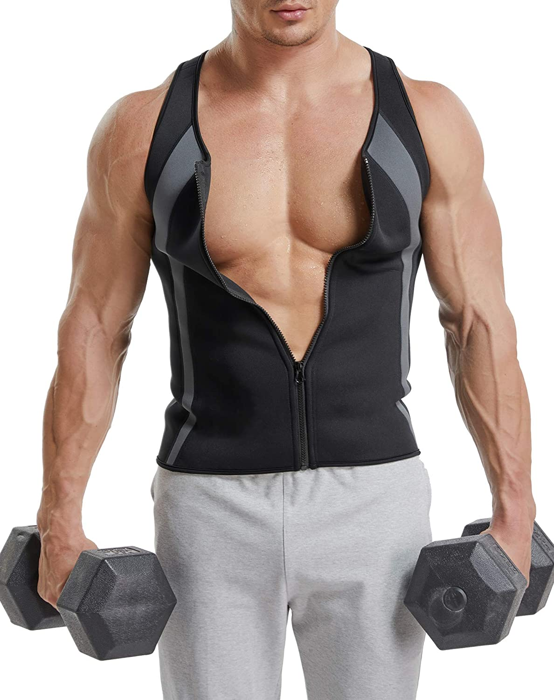 CROSS1946 Men Shaper Vest Sweat Hot Workout Neoprene Sauna Tank Top Zipper Waist Trainer Shaper Vest Weight Loss Gym Body Shaper Compression Shirt