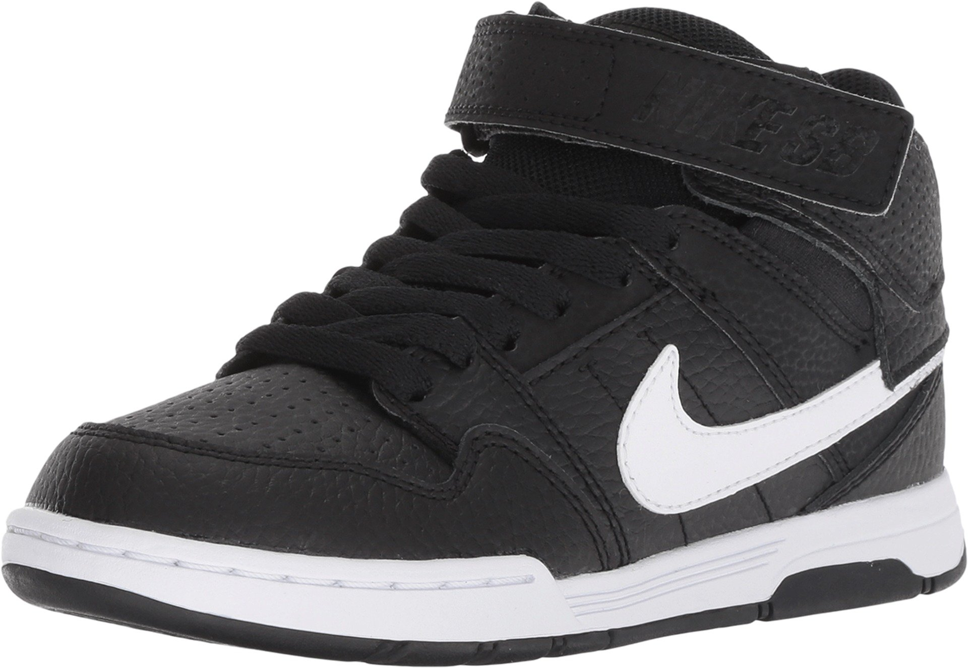 Nike Boys' Mogan Mid 2 JR Skate Shoe, Black/White, 10.5 M US Little Kid