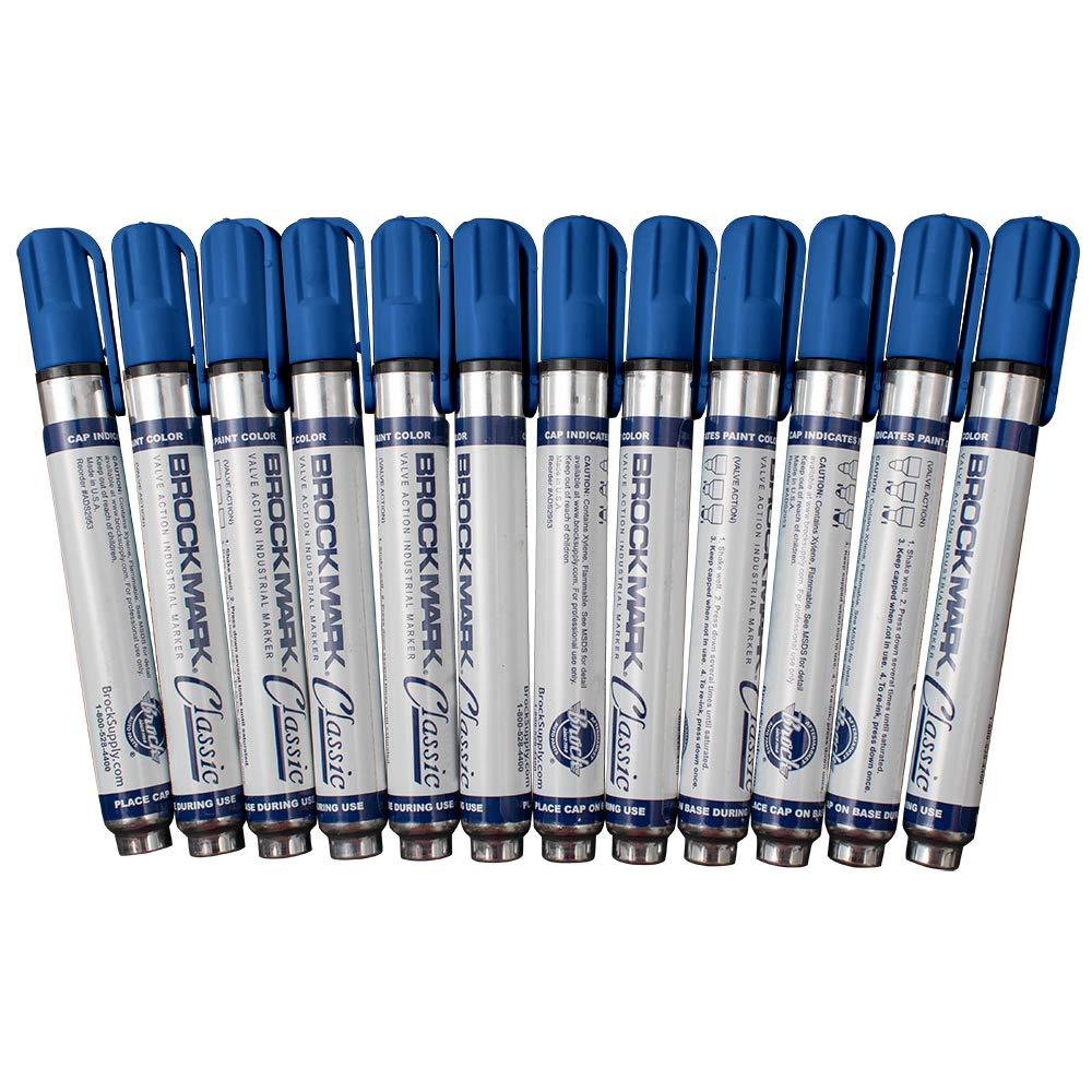 12 Pc Set Blue Brockmark Classic Industrial Permanent Paint Markers Pen Metal Glass Plastic Wood Rubber for Construction Auto Warehouse Arts by Brock