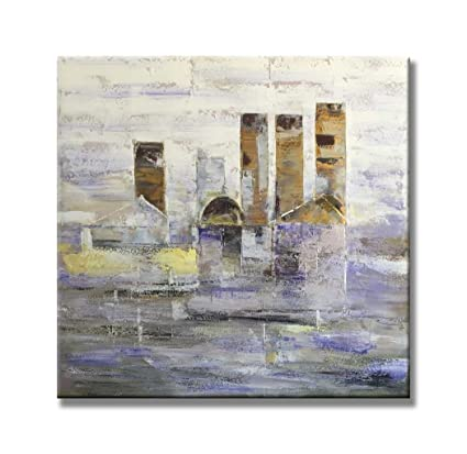 Girasol Arte Abstracto Edificios De Niebla Ciudad Paisajes Pintura