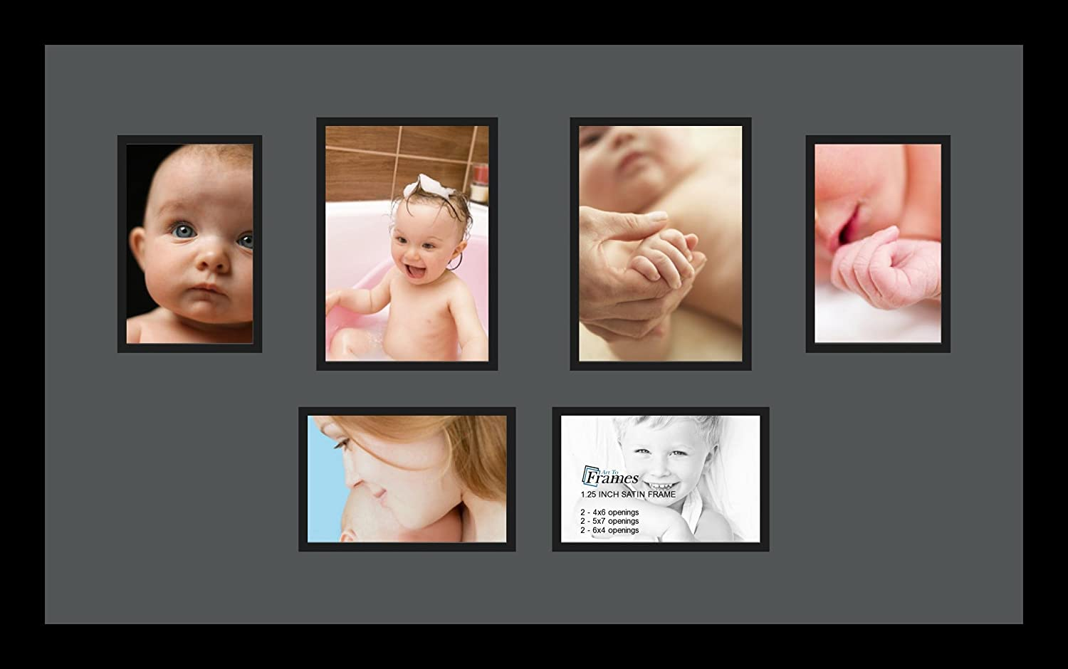 Art to Frames Double-Multimat-1104-41//89-FRBW26079 Collage Photo Frame Double Mat with 2-5x7 and 4-4x6 Openings and Satin Black Frame