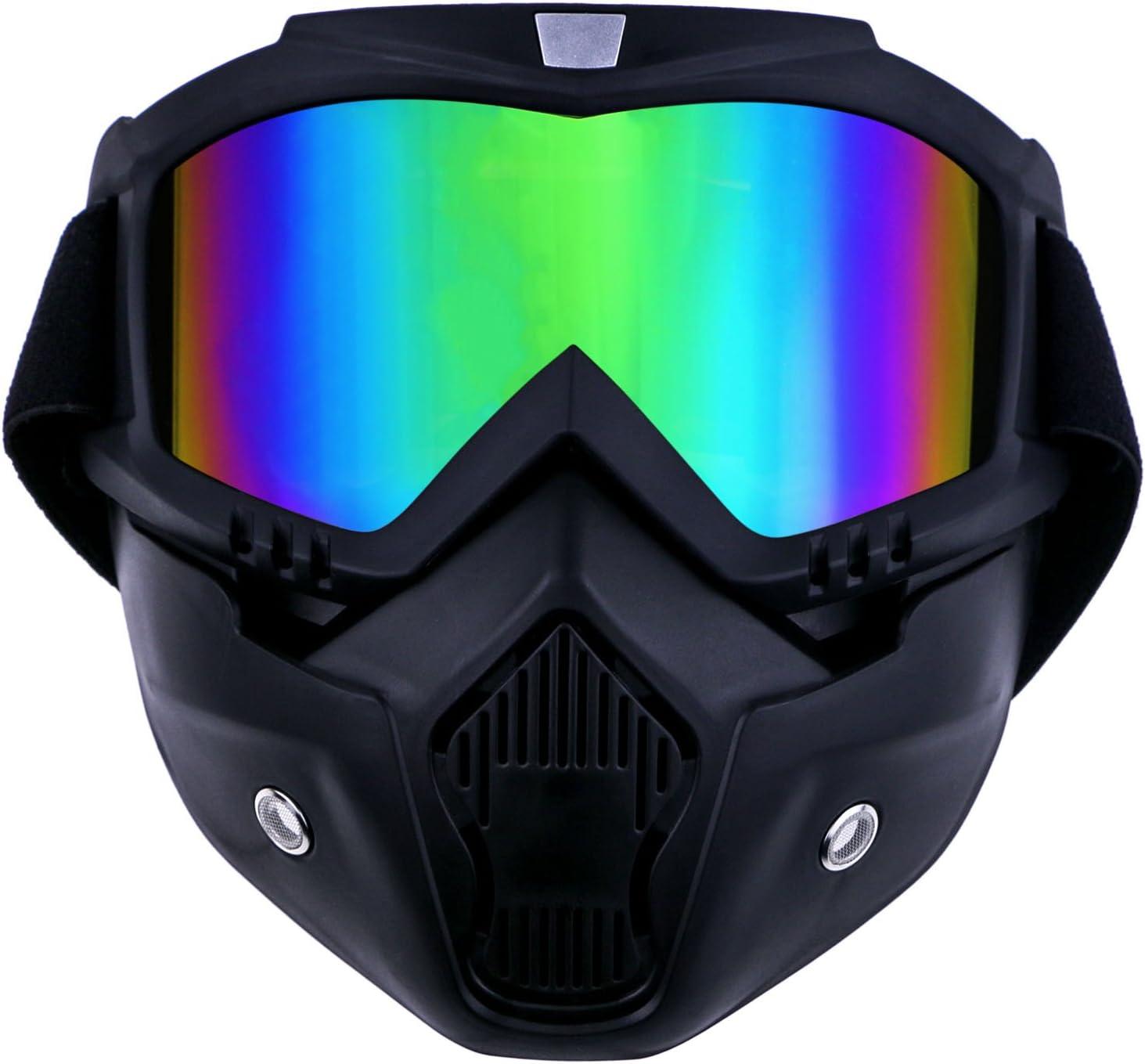 TedGem - Máscara con gafas protectoras desmontables para motocicleta, con filtro para la boca, para cascos abiertos de motocross, ski, snowboard, motocross todoterreno