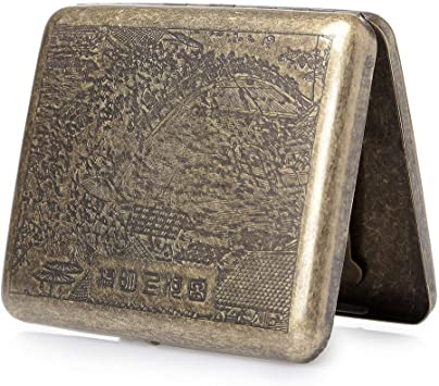 Estilo Antiguo Pitillera de Metal para 20 o 18 Cigarrillos para Hombre y Mujer Oumezon