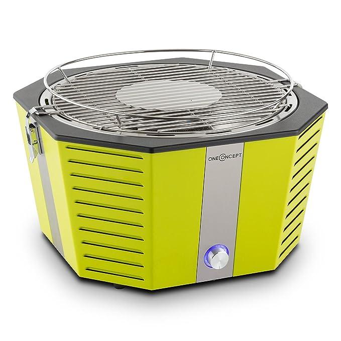 oneConcept Wolkenlos barbacoa de carbón portátil (Ø 31 cm, sistema sin humo, rápido arranque, muy bajo consumo 250gr carbón para 40-100 min, ...
