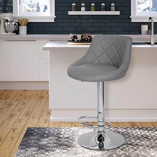 Gray Counter Height Bar Stools Set of 2 PU Leather Barstools Bar Counter Stool