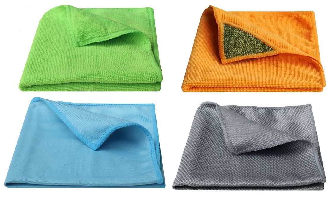 Living Eco Home Set of 4 Assorted Cleaning Cloths - All Purpose, Surface with Scrub Patch, Window & Glass, Stainless Steel - 12'' x 14'' - No Chemicals Required, Allergy Friendly