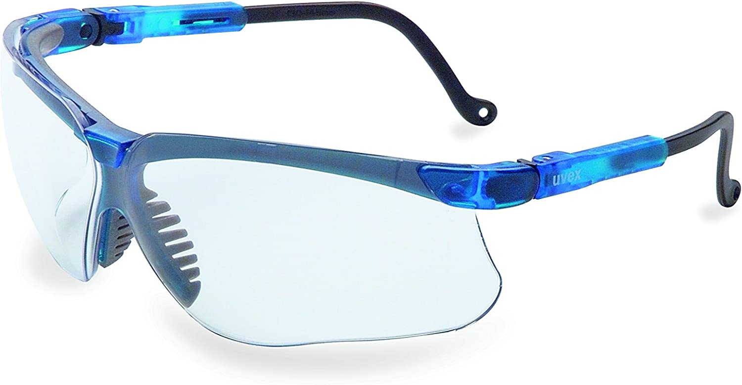 Uvex by Honeywell Genesis Safety Glasses with Uvextreme Anti-Fog Coating, Vapor Blue Frame