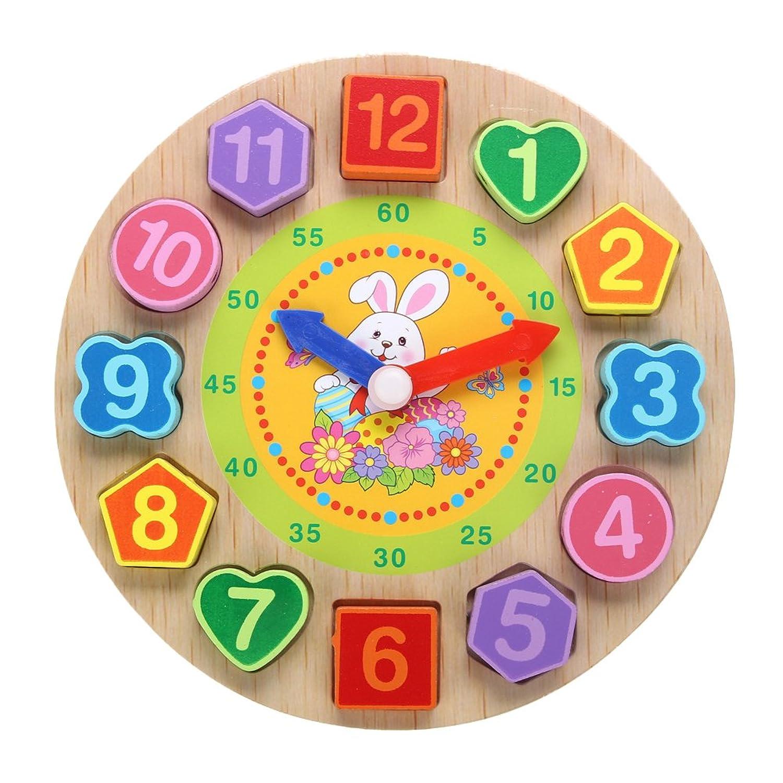 知育 玩具 モンテッソーリ 幼児 子供 教育 教材 木のおもちゃ シリンダー ブロック パズル 木製 視覚 認識 器用 数遊び 幾何学 認知 数字 時計 脳 活性化 はめこみ パズル 棒さし (形合わせ 3点入り)