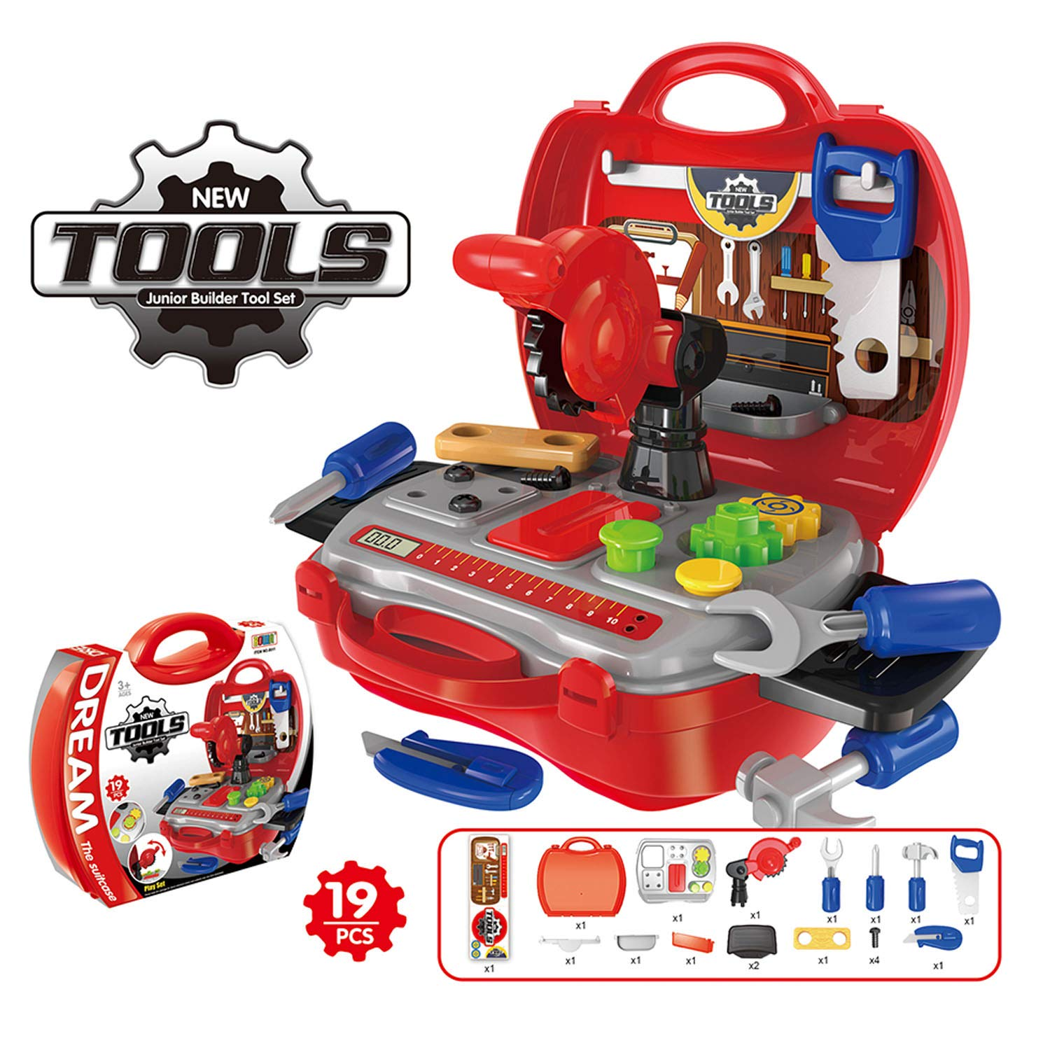 Snoky Kids Tools Set for Boys, Pretend Play Toys for Toddlers New Toys for Boys Girls Age 3-10 Unique Gifts for 3-10 Year Old Boys Girls Red SKTS2