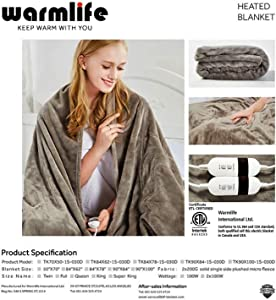 New Warmlife Luxe Soft Flannl Fleece Heated Electric Blanket Full Size with Safe & Warm Low-Voltage Technology Grey Flannel