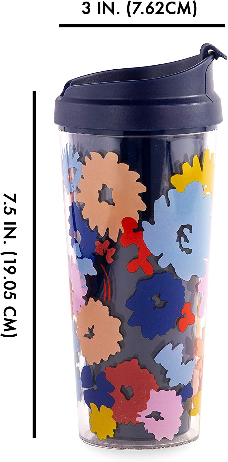 16 Ounces Kate Spade New York Purple//Blush Floral Insulated Thermal Travel Mug Pacific Petals