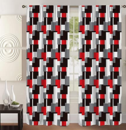 Amazon.com: Plaid Bedroom Window Curtains, Black & White ...