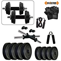 Kore PVC-DM Combo 2 (8 Kg - 26 Kg) Home Gym and Fitness Kit with Gym Accessories