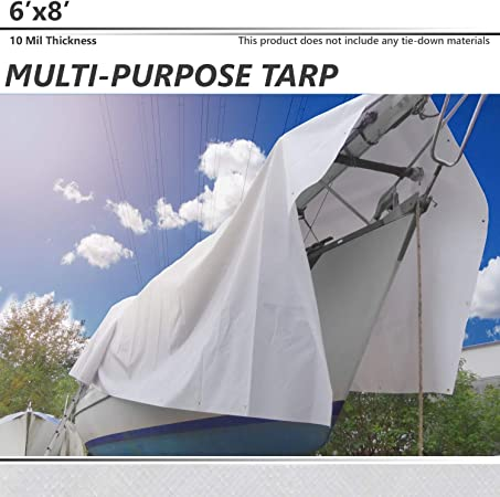 RV or Pool Cover!! Waterproof Tarp Cover 6X8 Silver//Silver Heavy Duty 8 Mil Thick Material Boat by Trademark Supllies Great for Tarpaulin Canopy Tent