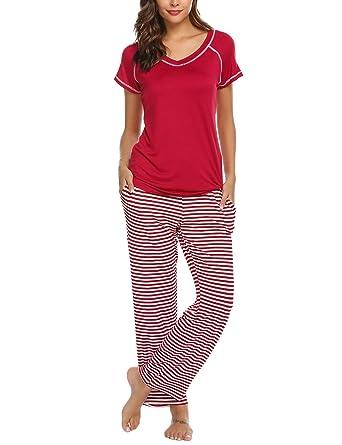 ebc0420fd9 Ekouaer Pajama Set, Womens Cotton Sleepwear Short Sleeve Loungewear ...