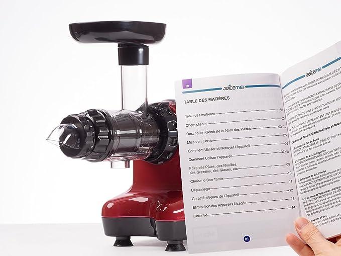 JuiceMe DA 1000 - Extractor de Zumos - Extractor de Zumos Lento Horizontal - Más limpieza y menos trabajo - Multifuncional - Material libre de BPA - Rojo: ...