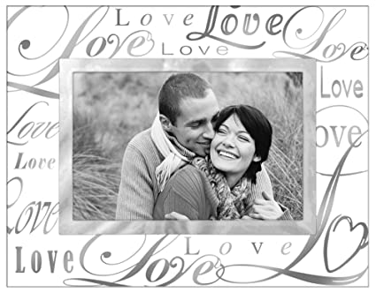 Malden International Designs Mirrored Glass With Silver Metal Inner Border Silver Metal Love Picture Frame 4x6 Clear