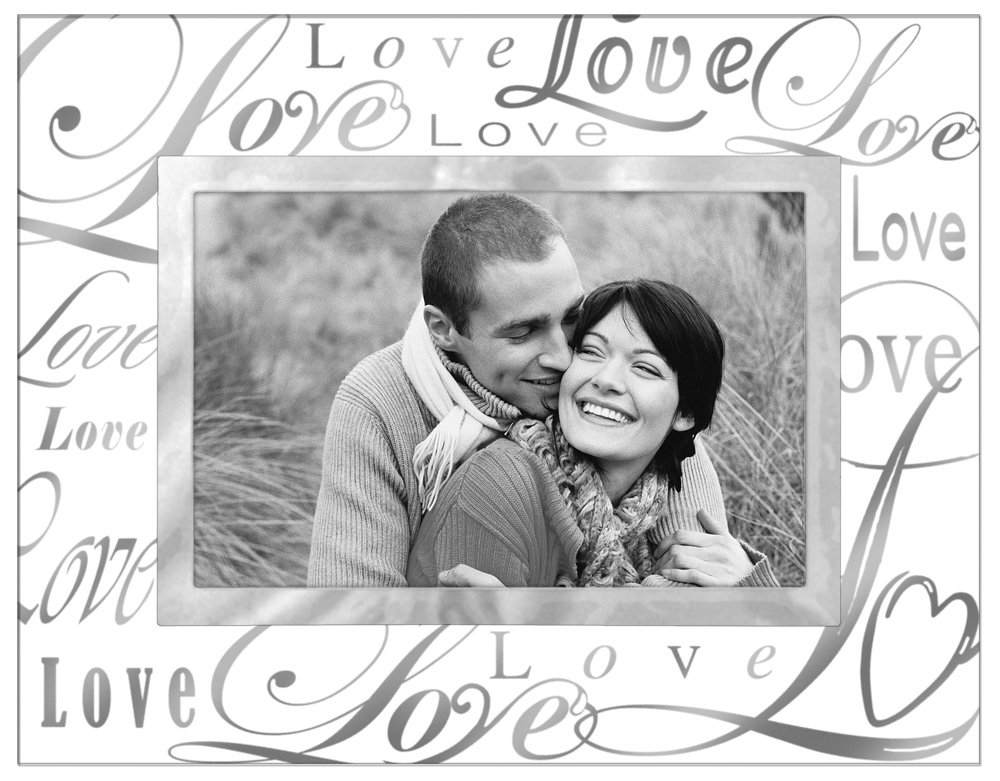 Malden International Designs Mirrored Glass With Silver Metal Inner Border Silver Metal Love Picture Frame, 4x6, Clear