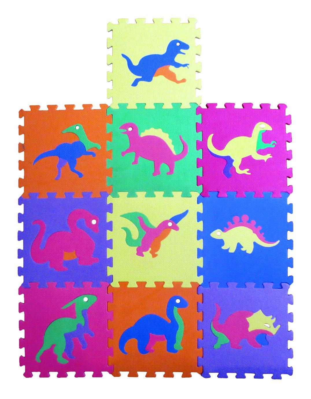 Dinosaur Zoo Educational Foam Puzzle Floor Mat for Kids + 10 Piece 12''x12'' Squares Blocks