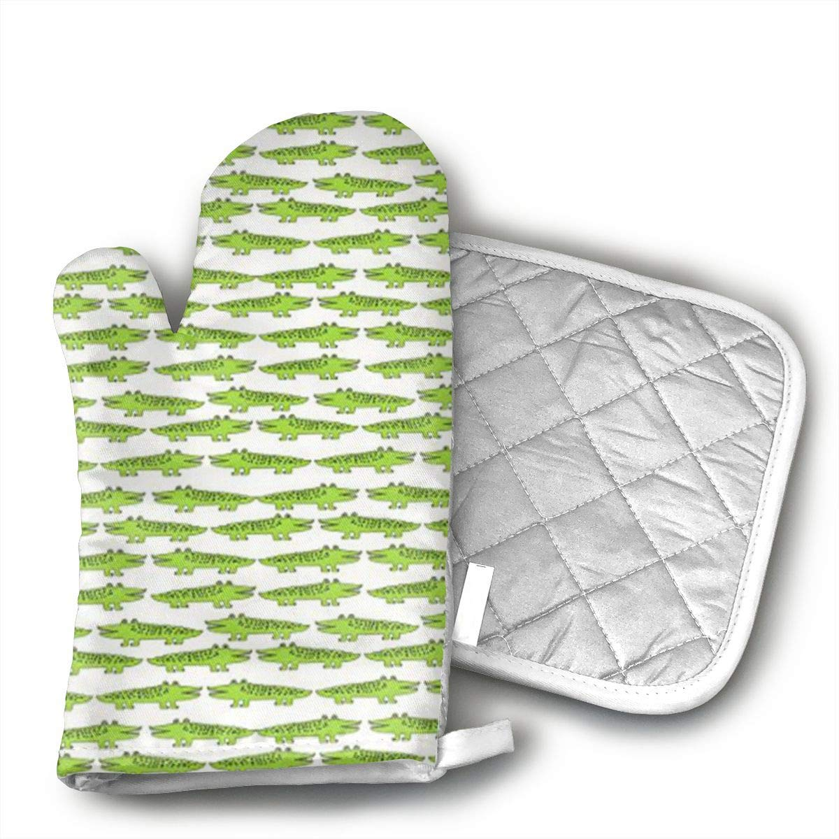 Teuwia Lime Green Mini Alligator Oven Mitts and Pot Holders Baking Oven Gloves Hot Pads Set Heat Resistant for Finger Hand Wrist Protection