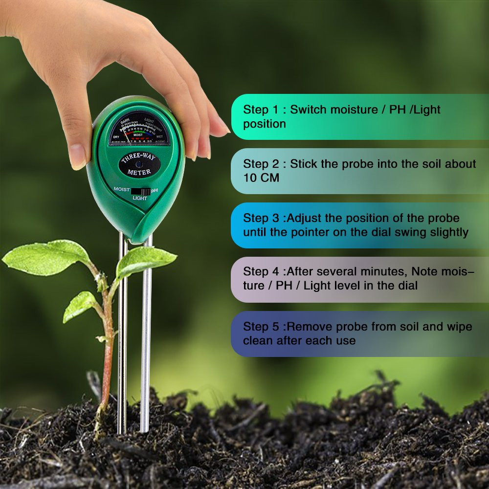 Rasen Bauernhof Abafia Bodentester 3 in 1 Bodenmessger/ät PH Wert Digitales Boden Feuchtigkeit Meter f/ür Pflanzenerde Garten kein Batterien erforderlich