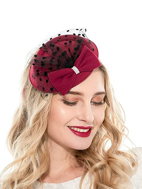 Zivyes Fascinator Hats For Women 20s 50s Hat Pillbox Hat With Veil Headband Clip Tea Party Headwear by Zivyes