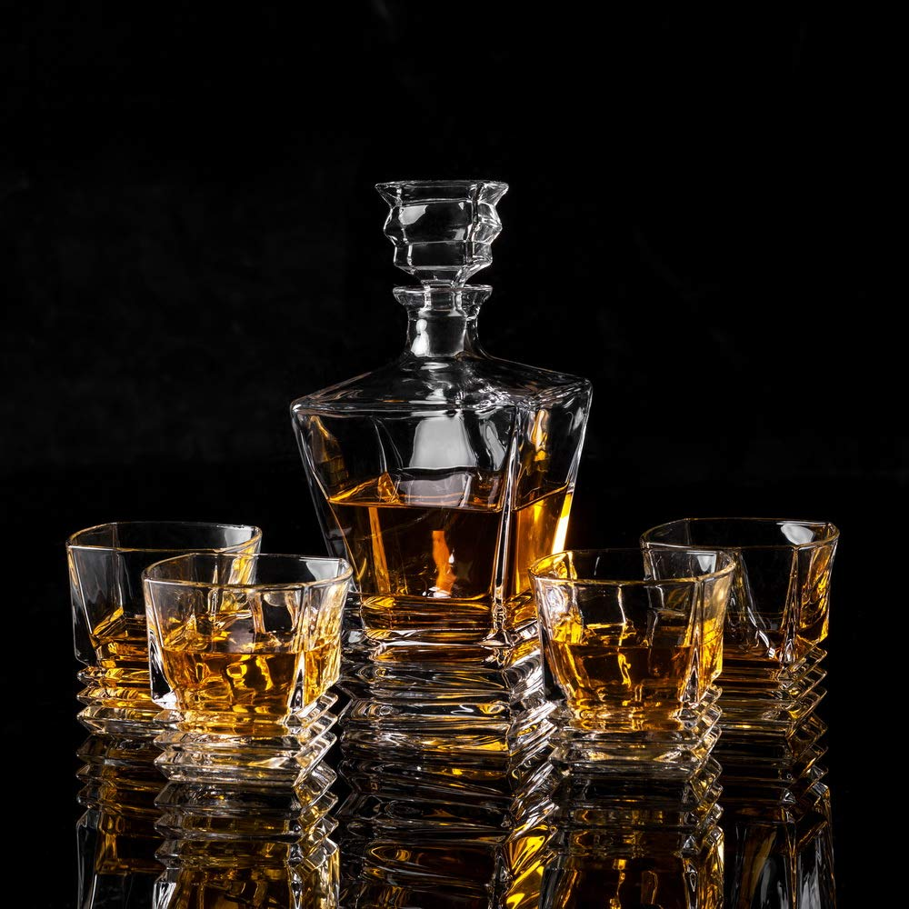 KANARS Crystal Whiskey Decanter And Glass Set With Luxury Gift Box - The Original Liquor Decanter Set For Scotch, Bourbon, Irish Whisky And Godmother Cocktail, 5-Piece by KANARS (Image #6)