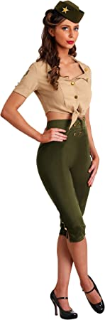 Vintage Pin Up Soldier Womens Fancy Dress Costume Medium: Amazon ...