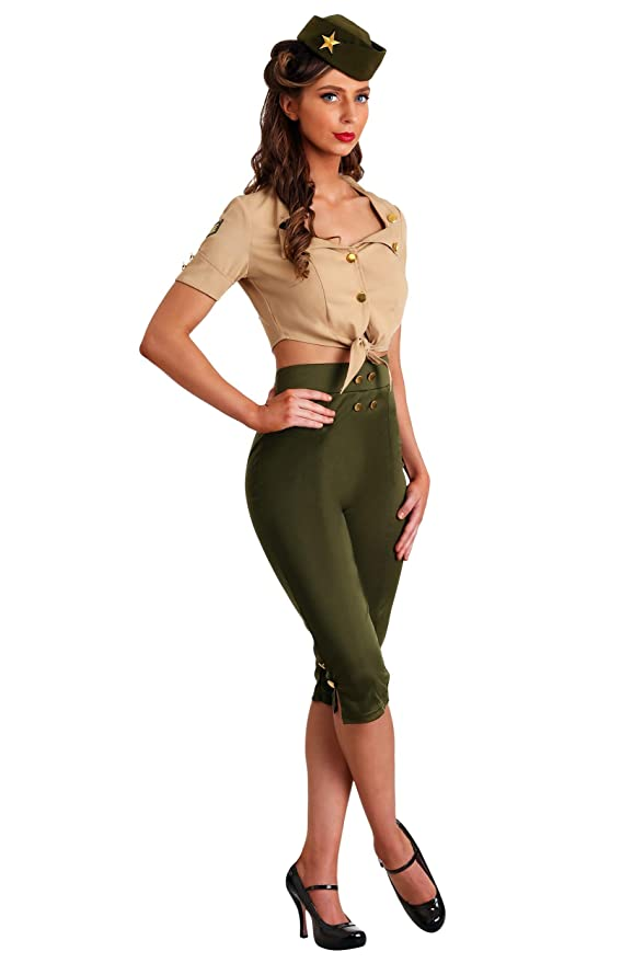 1950s Costumes- Poodle Skirts, Grease, Monroe, Pin Up, I Love Lucy Vintage Pin Up Soldier Womens Costume $29.99 AT vintagedancer.com